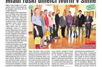 Статья о молодежном пленэре на первой странице ведущей газеты Снины